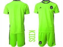 Kids 20-21 Soccer Mexico National Team ( Custom Made ) Fluorescence Green Goalkeeper Short Sleeve Suit Jersey