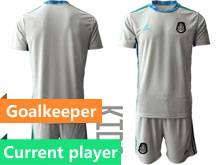 Kids 20-21 Soccer Mexico National Team Current Player Gray Goalkeeper Short Sleeve Suit Jersey