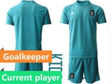 Kids 20-21 Soccer Mexico National Team Current Player Blue Goalkeeper Short Sleeve Suit Jersey