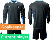 Mens 20-21 Soccer Mexico National Team Current Player Black Goalkeeper Long Sleeve Suit Jersey