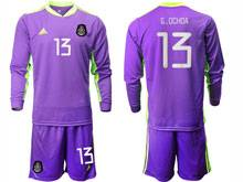 Mens 20-21 Soccer Mexico National Team ( Custom Made ) Purple Goalkeeper Long Sleeve Suit Jersey