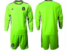 Mens 20-21 Soccer Mexico National Team ( Custom Made ) Fluorescence Green Goalkeeper Long Sleeve Suit Jersey