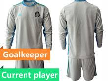 Mens 20-21 Soccer Mexico National Team Current Player Gray Goalkeeper Long Sleeve Suit Jersey