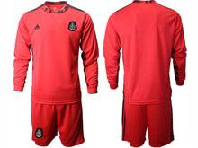 Mens 20-21 Soccer Mexico National Team ( Custom Made ) Red Goalkeeper Long Sleeve Suit Jersey