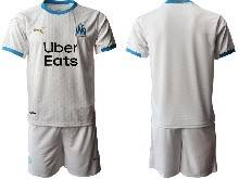 Mens 20-21 Soccer Olympique De Marseille Club ( Custom Made ) White Home Short Sleeve Suit Jersey
