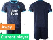 Mens 20-21 Soccer Olympique De Marseille Club Current Player Navy Away Short Sleeve Suit Jersey