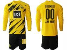 Mens 20-21 Soccer Borussia Dortmund Club ( Custom Made ) Yellow Home Long Sleeve Suit Jersey