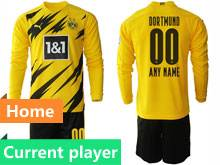 Mens 20-21 Soccer Borussia Dortmund Club Current Player Yellow Home Long Sleeve Suit Jersey