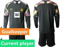 Mens 20-21 Soccer Borussia Dortmund Club Current Player Black Goalkeeper Long Sleeve Suit Jersey