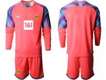 Mens 20-21 Soccer Borussia Dortmund Club ( Custom Made ) Pink Goalkeeper Long Sleeve Suit Jersey