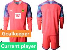 Mens 20-21 Soccer Borussia Dortmund Club Current Player Pink Goalkeeper Long Sleeve Suit Jersey