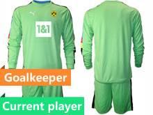 Mens 20-21 Soccer Borussia Dortmund Club Current Player Green Goalkeeper Long Sleeve Suit Jersey
