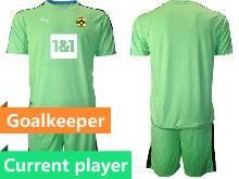 Mens 20-21 Soccer Borussia Dortmund Club Current Player Green Goalkeeper Short Sleeve Suit Jersey