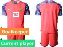 Mens 20-21 Soccer Borussia Dortmund Club Current Player Pink Goalkeeper Short Sleeve Suit Jersey