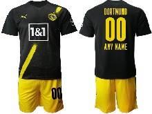 Mens 20-21 Soccer Borussia Dortmund Club ( Custom Made ) Black Away Short Sleeve Suit Jersey