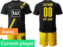 Mens 20-21 Soccer Borussia Dortmund Club Current Player Black Away Short Sleeve Suit Jersey