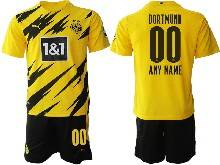 Mens 20-21 Soccer Borussia Dortmund Club ( Custom Made ) Yellow Home Short Sleeve Suit Jersey