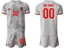 Mens Soccer Spain National Team ( Custom Made ) Gray Eurocup 2021 Away Short Sleeve Suit Jersey