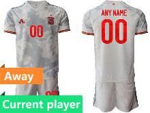Mens Soccer Spain National Team Current Player Gray Eurocup 2021 Away Short Sleeve Suit Jersey