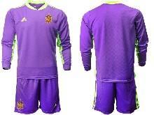 Mens Kids Soccer Spain National Team Custom Made Blue 13 Color Eurocup 2021 Goalkeeper Long Sleeve Suit Jersey