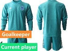 Mens Kids Soccer Spain National Team Current Player Blue 13 Color Eurocup 2021 Goalkeeper Long Sleeve Suit Jersey
