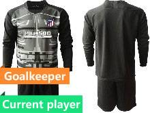 Mens 20-21 Soccer Atletico De Madrid Club Current Player Black Goalkeeper Long Sleeve Suit Jersey