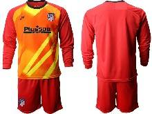 Mens 20-21 Soccer Atletico De Madrid Club ( Custom Made ) Red Goalkeeper Long Sleeve Suit Jersey