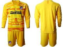 Mens 20-21 Soccer Atletico De Madrid Club ( Custom Made ) Yellow Goalkeeper Long Sleeve Suit Jersey