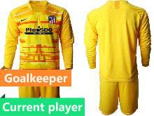 Mens 20-21 Soccer Atletico De Madrid Club Current Player Yellow Goalkeeper Long Sleeve Suit Jersey