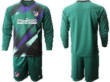Mens 20-21 Soccer Atletico De Madrid Club ( Custom Made ) Green Goalkeeper Long Sleeve Suit Jersey
