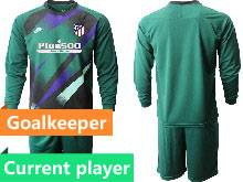 Mens 20-21 Soccer Atletico De Madrid Club Current Player Green Goalkeeper Long Sleeve Suit Jersey