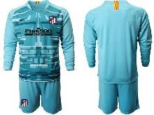 Mens 20-21 Soccer Atletico De Madrid Club ( Custom Made ) Blue Goalkeeper Long Sleeve Suit Jersey