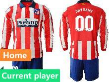 Mens 20-21 Soccer Atletico De Madrid Club Current Player Red And White Stripe Home Long Sleeve Suit Jersey