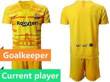 Mens 20-21 Soccer Barcelona Club Current Player Yellow Goalkeeper Short Sleeve Suit Jersey