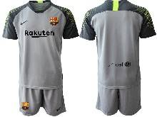 Mens 20-21 Soccer Barcelona Club ( Custom Made ) Gray Goalkeeper Short Sleeve Suit Jersey
