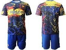 Mens 20-21 Soccer Barcelona Club ( Custom Made ) Blue Short Sleeve Suit Jersey