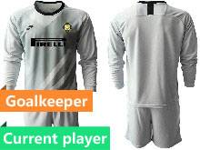 Mens 20-21 Soccer Inter Milan Club Current Player Gray Goalkeeper Long Sleeve Suit Jersey