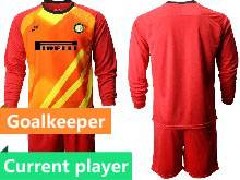 Mens 20-21 Soccer Inter Milan Club Current Player Red Goalkeeper Long Sleeve Suit Jersey