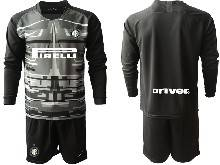 Mens 20-21 Soccer Inter Milan Club ( Custom Made ) Black Goalkeeper Long Sleeve Suit Jersey