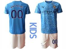 Kids 20-21 Soccer Manchester City Club ( Custom Made ) Blue Home Short Sleeve Suit Jersey