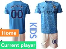 Kids 20-21 Soccer Manchester City Club Current Player Blue Home Short Sleeve Suit Jersey
