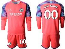 Mens 20-21 Soccer Manchester City Club ( Custom Made ) Red Goalkeeper Long Sleeve Suit Jersey