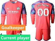 Mens 20-21 Soccer Manchester City Club Current Player Red Goalkeeper Long Sleeve Suit Jersey