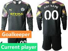 Mens 20-21 Soccer Manchester City Club Current Player Black Goalkeeper Long Sleeve Suit Jersey
