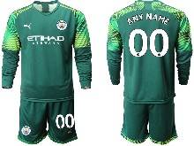 Mens 20-21 Soccer Manchester City Club ( Custom Made ) Green Goalkeeper Long Sleeve Suit Jersey