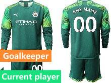 Mens 20-21 Soccer Manchester City Club Current Player Green Goalkeeper Long Sleeve Suit Jersey
