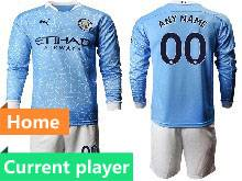 Mens 20-21 Soccer Manchester City Club Current Player Blue Home Long Sleeve Suit Jersey