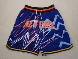 Mens Nba New York Knicks Blue Lightning Printing Just Don Pocket Shorts