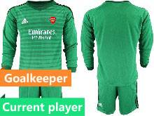 Mens 20-21 Soccer Arsenal Club Current Player Green Goalkeeper Long Sleeve Suit Jersey