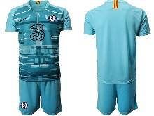 Mens 20-21 Soccer Chelsea Club ( Custom Made ) Blue Goalkeeper Short Sleeve Suit Jersey